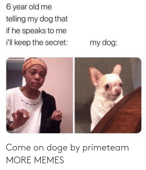 Doge: 6 year old me  telling my dog that  if he speaks to me  i'll keep the secret:  my dog: Come on doge by primeteam MORE MEMES