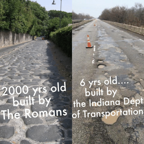 Transportation: 6 yrs old....  2000 yrs old  built by  built by  the Indiana Dept  The Romans of Transportation