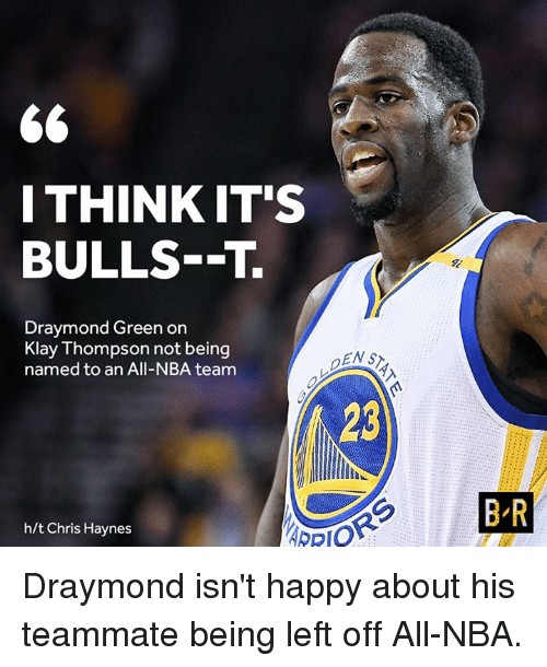Draymond Green, Klay Thompson, and Nba: 66  I THINK IT'S  BULLS--T.  Draymond Green on  Klay Thompson not being  named to an All-NBA team  h/t Chris Haynes  BR Draymond isn't happy about his teammate being left off All-NBA.
