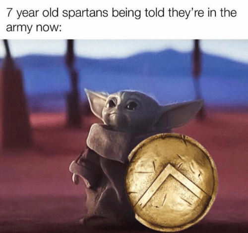 Army: 7 year old spartans being told they're in the  army now