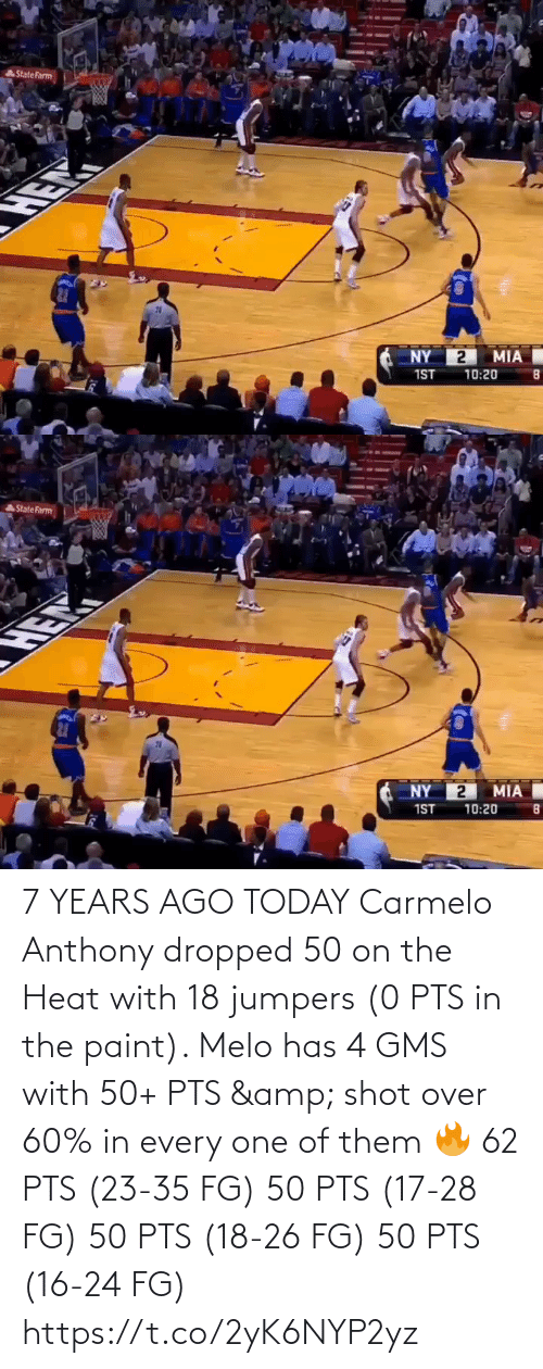 them: 7 YEARS AGO TODAY Carmelo Anthony dropped 50 on the Heat with 18 jumpers (0 PTS in the paint).   Melo has 4 GMS with 50+ PTS & shot over 60% in every one of them 🔥  62 PTS (23-35 FG) 50 PTS (17-28 FG) 50 PTS (18-26 FG) 50 PTS (16-24 FG) https://t.co/2yK6NYP2yz