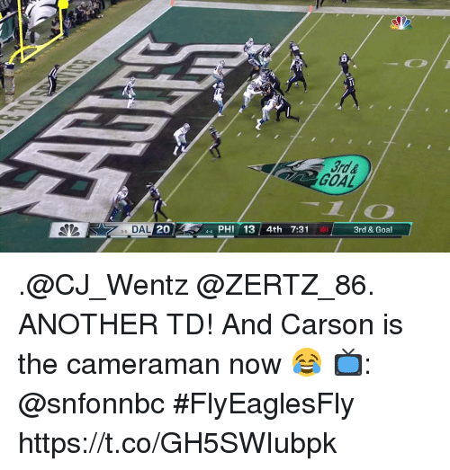 Memes, Goal, and 🤖: 72  3rd &  GOAL  1/O  3 DAL  20  44 PHI 13 4th 7:31  01  3rd & Goal  3-5 .@CJ_Wentz @ZERTZ_86. ANOTHER TD!  And Carson is the cameraman now 😂  📺: @snfonnbc #FlyEaglesFly https://t.co/GH5SWIubpk