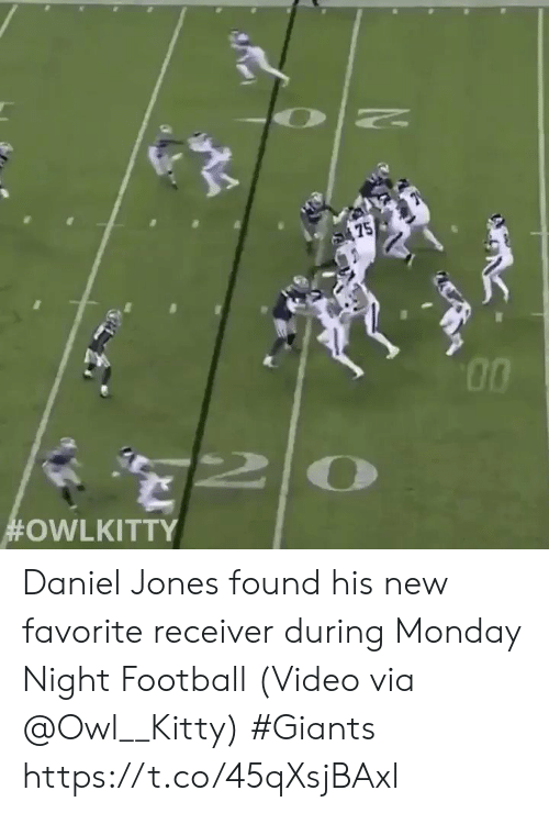Football, Sports, and Giants: 75  Daniel Jones found his new favorite receiver during Monday Night Football  (Video via @Owl__Kitty) #Giants  https://t.co/45qXsjBAxl