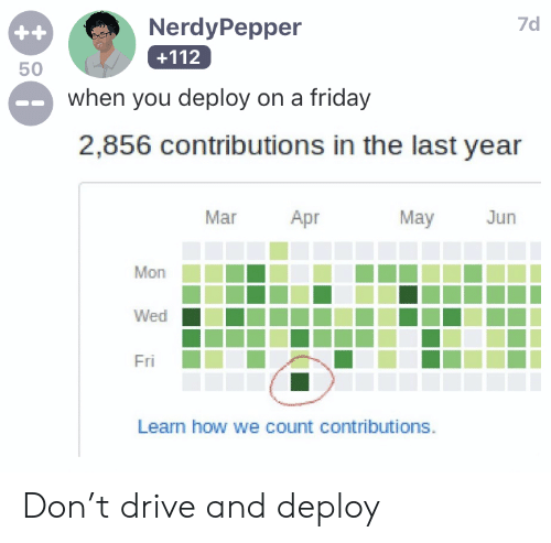 Friday, Drive, and How: 7d  NerdyPepper  ++  +112  50  when you deploy on a friday  2,856 contributions in the last year  Mar  Apr  May  Jun  Mon  Wed  Fri  Learn how we count contributions Don't drive and deploy