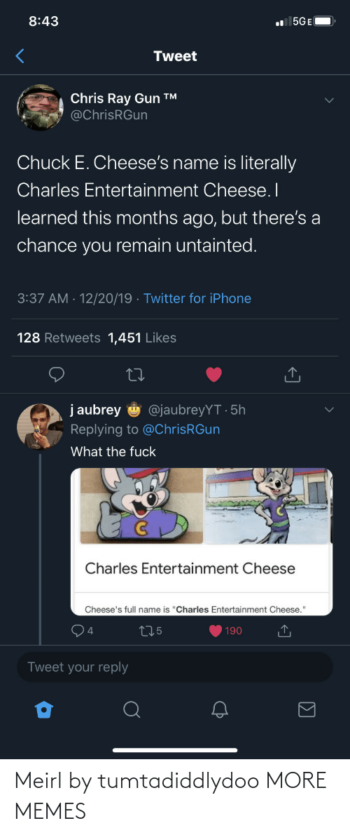 """gun: 8:43  l 5GE(  Tweet  Chris Ray Gun ™  @ChrisRGun  Chuck E. Cheese's name is literally  Charles Entertainment Cheese. I  learned this months ago, but there's a  chance you remain untainted.  3:37 AM · 12/20/19 · Twitter for iPhone  128 Retweets 1,451 Likes  j aubrey  @jaubreyYT · 5h  Replying to @ChrisRGun  What the fuck  Charles Entertainment Cheese  Cheese's full name is """"Charles Entertainment Cheese.""""  275  190  Tweet your reply Meirl by tumtadiddlydoo MORE MEMES"""