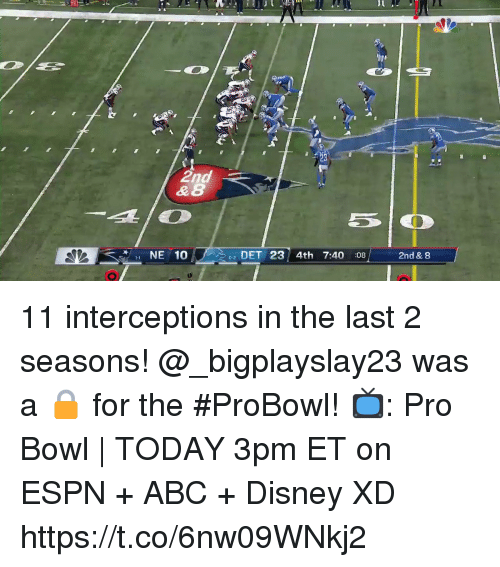 Abc, Disney, and Espn: & 8  NE 10  02 DET 23 4th 7:40 :08  2nd & 8 11 interceptions in the last 2 seasons! @_bigplayslay23 was a 🔒 for the #ProBowl!  📺: Pro Bowl | TODAY 3pm ET on ESPN + ABC + Disney XD https://t.co/6nw09WNkj2