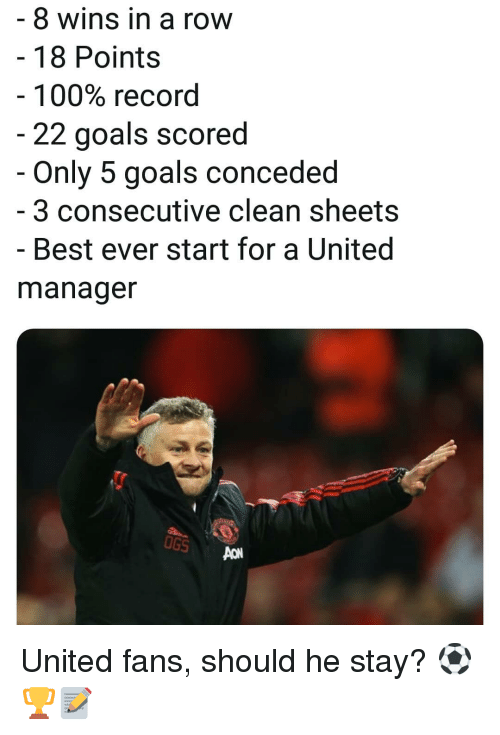 best ever: 8 wins in a row  - 18 Points  100% record  22 goals scored  Only 5 goals conceded  3 consecutive clean sheets  - Best ever start for a United  manager  UGS United fans, should he stay? ⚽️🏆📝