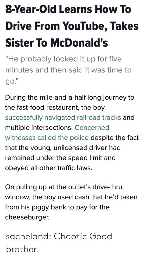 """Fast Food, Food, and Journey: 8-Year-Old Learns How To  Drive From YouTube, Takes  Sister To McDonald's  """"He probably looked it up for five  minutes and then said it was time to  go.   During the mile-and-a-half long journey to  the fast-food restaurant, the boy  successfully navigated railroad tracks and  multiple intersections. Concerned  witnesses called the police despite the fact  that the young, unlicensed driver had  remained under the speed limit and  obeyed all other traffic laws.  On pulling up at the outlet's drive-thru  window, the boy used cash that he'd taken  from his piggy bank to pay for the  cheeseburger. sacheland: Chaotic Good brother."""