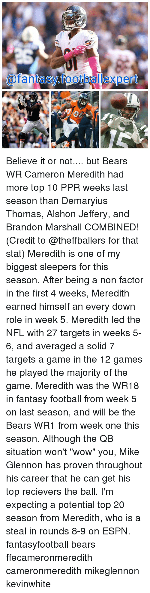 """Espn, Fantasy Football, and Football: 80  @fantasy.footballexpert  0 Believe it or not.... but Bears WR Cameron Meredith had more top 10 PPR weeks last season than Demaryius Thomas, Alshon Jeffery, and Brandon Marshall COMBINED! (Credit to @theffballers for that stat) Meredith is one of my biggest sleepers for this season. After being a non factor in the first 4 weeks, Meredith earned himself an every down role in week 5. Meredith led the NFL with 27 targets in weeks 5-6, and averaged a solid 7 targets a game in the 12 games he played the majority of the game. Meredith was the WR18 in fantasy football from week 5 on last season, and will be the Bears WR1 from week one this season. Although the QB situation won't """"wow"""" you, Mike Glennon has proven throughout his career that he can get his top recievers the ball. I'm expecting a potential top 20 season from Meredith, who is a steal in rounds 8-9 on ESPN. fantasyfootball bears ffecameronmeredith cameronmeredith mikeglennon kevinwhite"""