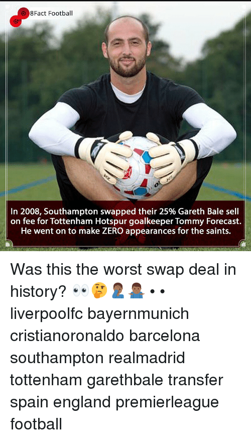 Forecast: 8Fact Football  In 2008, Southampton swapped their 25% Gareth Bale sell  on fee for Tottenham Hotspur goalkeeper Tommy Forecast.  He went on to make ZERO appearances for the saints. Was this the worst swap deal in history? 👀🤔🤦🏾‍♂️🤷🏾‍♂️ • • liverpoolfc bayernmunich cristianoronaldo barcelona southampton realmadrid tottenham garethbale transfer spain england premierleague football