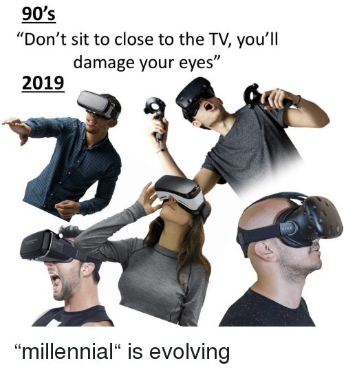 "90's, Damage, and Eyes: 90's  ""Don't sit to close to the TV, you'll  damage your eyes""  )l  2019  IVE ""millennial"" is evolving"
