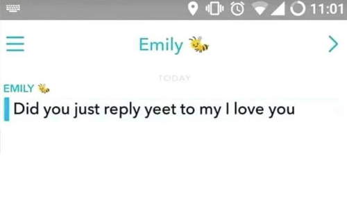 Love, I Love You, and Did: 9O O40 11:01  Emily  ODA  EMILY  |Did you just reply yeet to my I love you