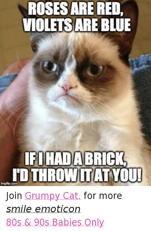 Rosesarered: ROSESARE RED,  VIOLETS ARE BLUE  IFIHADABRICK.  TDTHROWITAT YOU!  imgflip.com Join Grumpy Cat. for more smile emoticon 80s & 90s Babies Only