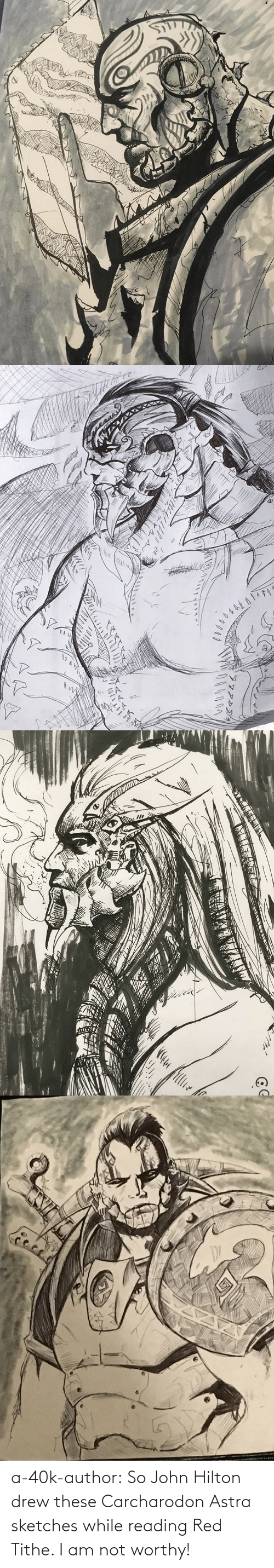 40k: a-40k-author:  So John Hilton drew these Carcharodon Astra sketches while reading Red Tithe. I am not worthy!