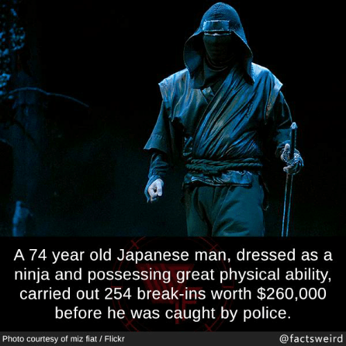 Fiat: A 74 year old Japanese man, dressed as a  ninja and possessing great physical ability,  carried out 254 break-ins worth $260,000  before he was caught by police.  Photo courtesy of miz fiat / Flickr  @factsweird