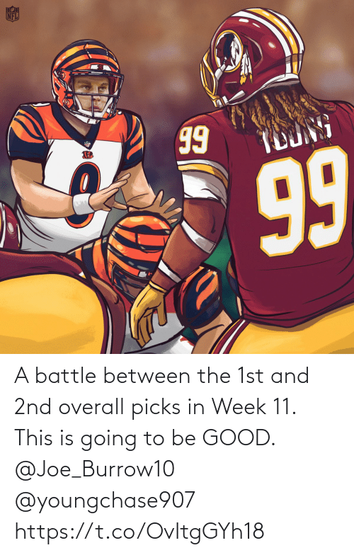 Between: A battle between the 1st and 2nd overall picks in Week 11.   This is going to be GOOD. @Joe_Burrow10 @youngchase907 https://t.co/OvItgGYh18