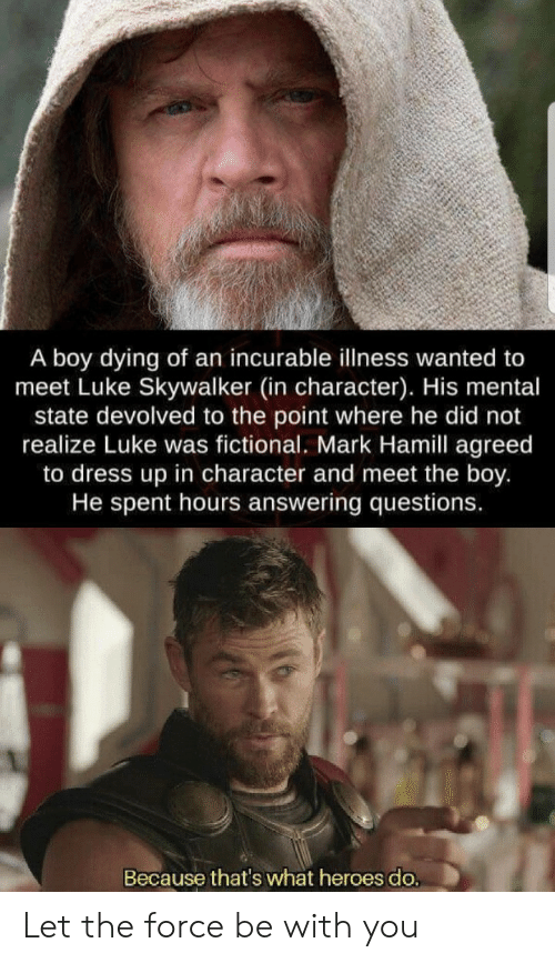 skywalker: A boy dying of an incurable illness wanted to  meet Luke Skywalker (in character). His mental  state devolved to the point where he did not  realize Luke was fictional. Mark Hamill agreed  to dress up in character and meet the boy.  He spent hours answering questions.  Because that's what heroes do. Let the force be with you