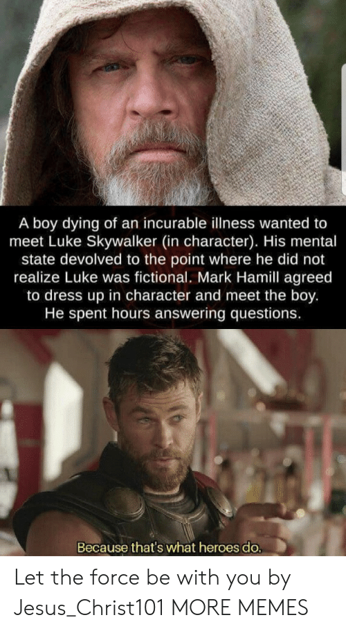 skywalker: A boy dying of an incurable illness wanted to  meet Luke Skywalker (in character). His mental  state devolved to the point where he did not  realize Luke was fictional. Mark Hamill agreed  to dress up in character and meet the boy.  He spent hours answering questions.  Because that's what heroes do. Let the force be with you by Jesus_Christ101 MORE MEMES