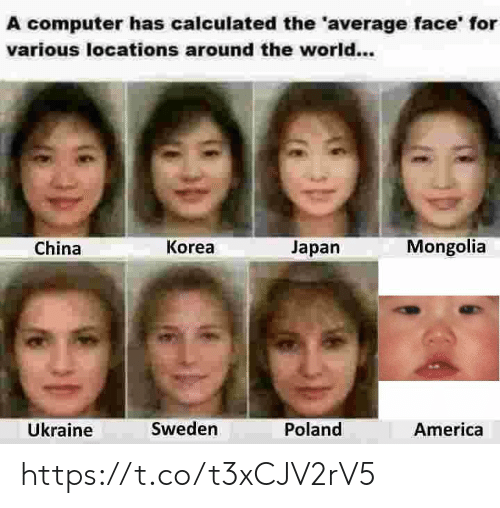 Calculated: A computer has calculated the 'average face' for  various locations around the world...  Mongolia  Korea  Japan  China  Ükraine  Sweden  Poland  America https://t.co/t3xCJV2rV5