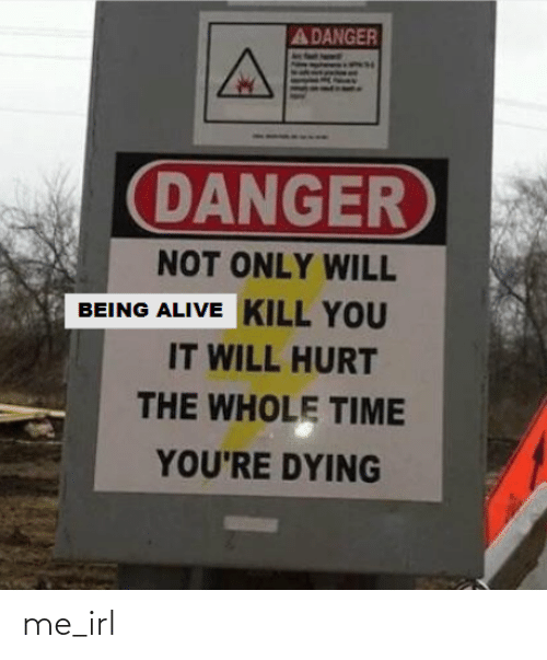 Kill You: A DANGER  DANGER  NOT ONLY WILL  BEING ALIVE KILL YOU  IT WILL HURT  THE WHOLE TIME  YOU'RE DYING me_irl
