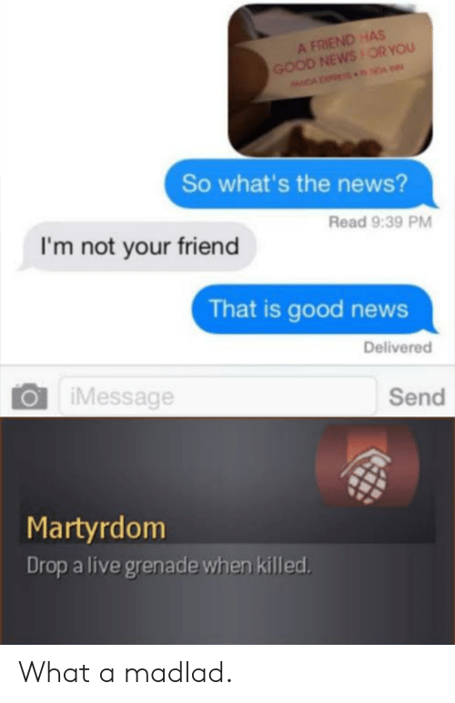 Madlad: A FRIEND HAS  GOOD NEWSOR YOU  NDA NDA  So what's the news?  Read 9:39 PM  I'm not your friend  That is good news  Delivered  iMessage  Send  Martyrdom  Drop a live grenade when killed What a madlad.