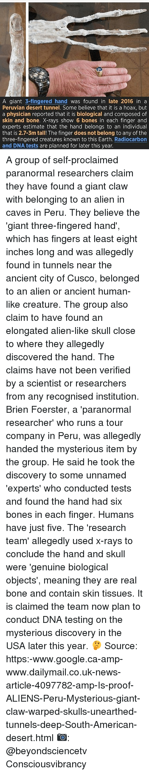 Fingered: A giant  3-fingered hand  was found in late 2016 in a  Peruvian desert tunnel. Some believe that it is a hoax, but  a physician reported that it is biological and composed of  skin and bone. X-rays show 6 bones in each finger and  experts estimate that the hand belongs to an individual  that is 2.7-3m tall! The finger does not belong to any of the  three-fingered creatures known to this Earth  Radiocarbon  and DNA tests are planned for later this year. A group of self-proclaimed paranormal researchers claim they have found a giant claw with belonging to an alien in caves in Peru. They believe the 'giant three-fingered hand', which has fingers at least eight inches long and was allegedly found in tunnels near the ancient city of Cusco, belonged to an alien or ancient human-like creature. The group also claim to have found an elongated alien-like skull close to where they allegedly discovered the hand. The claims have not been verified by a scientist or researchers from any recognised institution. Brien Foerster, a 'paranormal researcher' who runs a tour company in Peru, was allegedly handed the mysterious item by the group. He said he took the discovery to some unnamed 'experts' who conducted tests and found the hand had six bones in each finger. Humans have just five. The 'research team' allegedly used x-rays to conclude the hand and skull were 'genuine biological objects', meaning they are real bone and contain skin tissues. It is claimed the team now plan to conduct DNA testing on the mysterious discovery in the USA later this year. 🤔 Source: https:-www.google.ca-amp-www.dailymail.co.uk-news-article-4097782-amp-Is-proof-ALIENS-Peru-Mysterious-giant-claw-warped-skulls-unearthed-tunnels-deep-South-American-desert.html 📷: @beyondsciencetv Consciousvibrancy