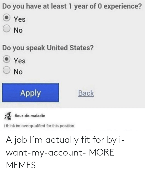 want: A job I'm actually fit for by i-want-my-account- MORE MEMES