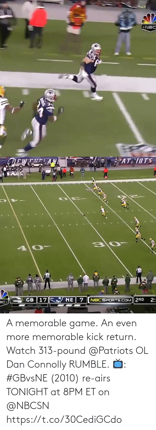 Patriotic: A memorable game. An even more memorable kick return. Watch 313-pound @Patriots OL Dan Connolly RUMBLE.   📺: #GBvsNE (2010) re-airs TONIGHT at 8PM ET on @NBCSN https://t.co/30CediGCdo