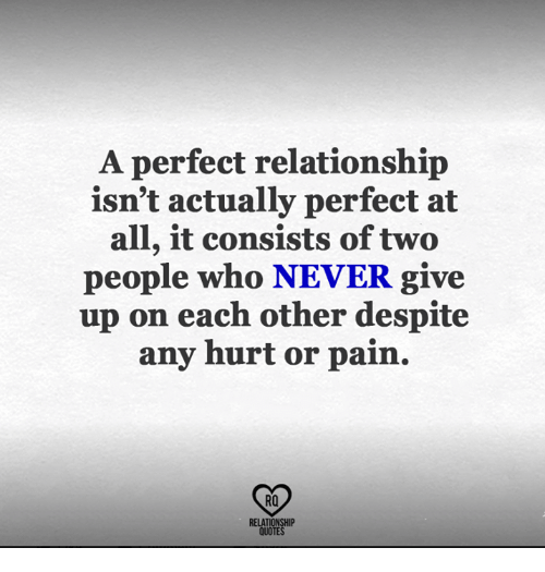 Memes, Quotes, and Never: A perfect relationship  isn't actually perfect at  all, it consists of two  people who NEVER give  up on each other despite  any hurt or pain.  RO  RELATIONSHIP  QUOTES
