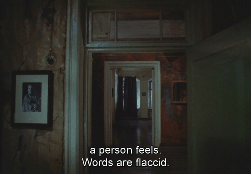 Words, Person, and Feels: a person feels  Words are flaccid.
