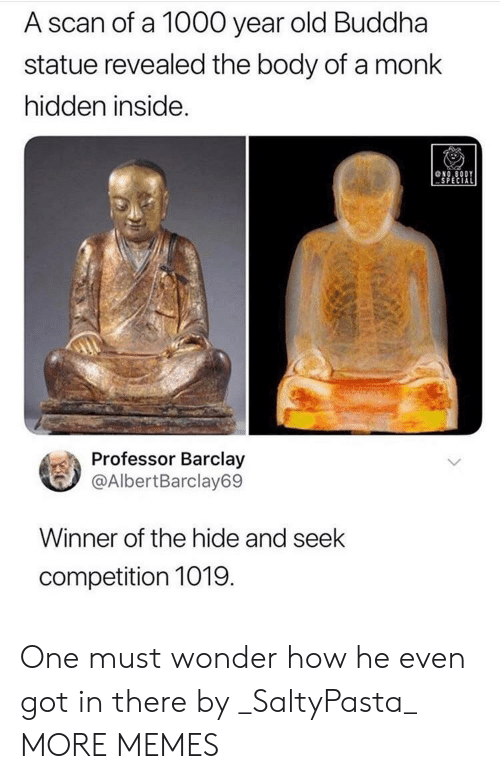 monk: A scan of a 1000 year old Buddha  statue revealed the body of a monk  hidden inside.  NO.8ODY  SPECIAL  Professor Barclay  @AlbertBarclay69  Winner of the hide and seek  competition 1019  (GA One must wonder how he even got in there by _SaltyPasta_ MORE MEMES