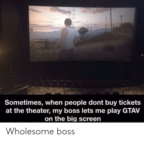 Wholesome: a  Sometimes, when people dont buy tickets  at the theater, my boss lets me play GTAV  on the big screen Wholesome boss