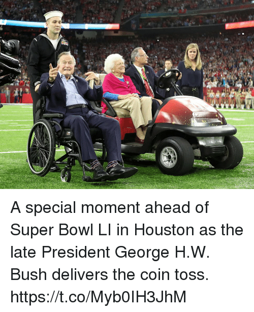 Memes, Super Bowl, and Houston: A special moment ahead of Super Bowl LI in Houston as the late President George H.W. Bush delivers the coin toss. https://t.co/Myb0IH3JhM