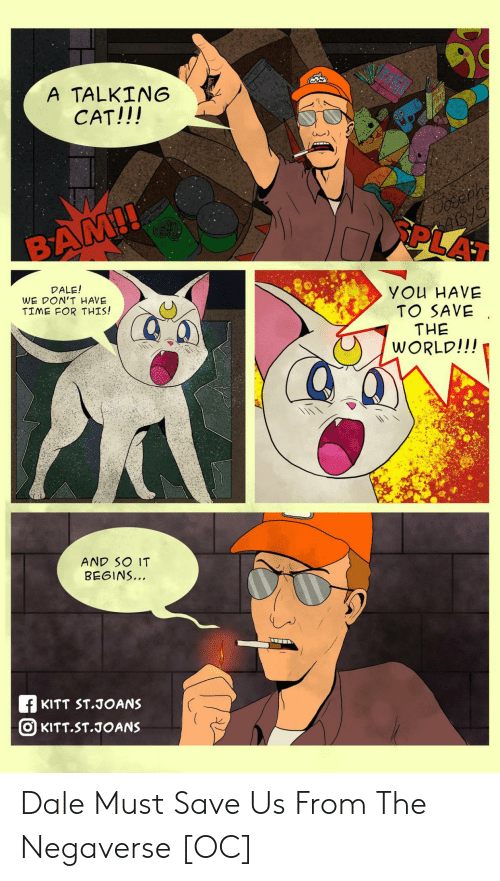 dont-have-time: A TALKING  CAT!!!  Cosephe  46/5  PLAT  BAM!!  DALE!  WE DON'T HAVE  TIME FOR THIS!  YOu HAVE  TO SAVE  THE  WORLD!!!  AND SO IT  BEGINS..  f KITT ST.JOANS  O KITT.ST.JOANS Dale Must Save Us From The Negaverse [OC]