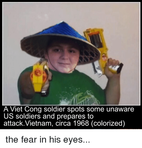 viet cong: A Viet Cong soldier spots some unaware  US soldiers and prepares to  attack.Vietnam, (colorized) the fear in his eyes...