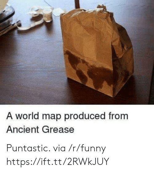 Grease: A world map produced from  Ancient Grease Puntastic. via /r/funny https://ift.tt/2RWkJUY