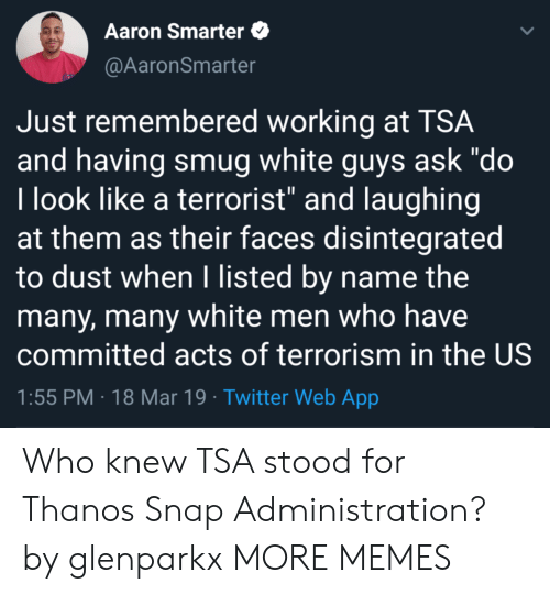 "Dank, Memes, and Target: Aaron Smarter  @AaronSmarter  Just remembered working at TSA  and having smug white guys ask ""do  l look like a terrorist"" and laughing  at them as their faces disintegrated  to dust when I listed by name the  many, many white men who have  committed acts of terrorism in the US  1:55 PM 18 Mar 19 Twitter Web App Who knew TSA stood for Thanos Snap Administration? by glenparkx MORE MEMES"
