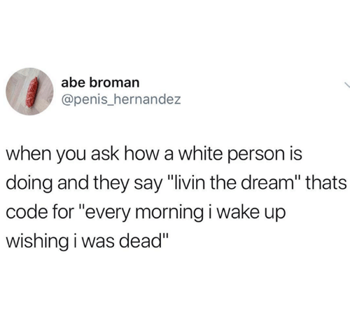 "Broman: abe broman  @penis_hernande:z  when you ask how a white person is  doing and they say ""livin the dream"" thats  code for ""every morning i wake up  wishing i was dead"