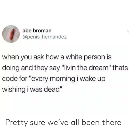 "Broman: abe broman  @penis_hernandez  when you ask how a white person is  doing and they say ""livin the dream"" thats  code for ""every morning i wake up  wishing i was dead"" Pretty sure we've all been there"