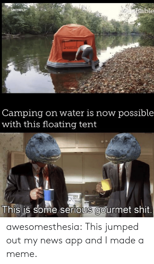 camping: able  SMITHFLY  Camping  with this floating tent  on water is now possible  This is some serious gourmet shit awesomesthesia:  This jumped out my news app and I made a meme.