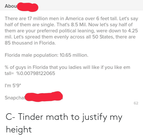 """America: Abou  There are 17 million men in America over 6 feet tall. Let's say  half of them are single. That's 8.5 Mil. Now let's say half of  them are your preferred political leaning, were down to 4.25  mil. Let's spread them evenly across all 50 States, there are  85 thousand in Florida.  Florida male population: 10.65 million.  % of guys in Florida that you ladies will like if you like em  tall= %0.00798122065  I'm 5'9""""  Snapchat  62 C- Tinder math to justify my height"""