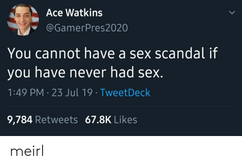 Sex, Scandal, and Never: Ace Watkins  @GamerPres2020  You cannot have a sex scandal if  you have never had sex.  1:49 PM 23 Jul 19 TweetDeck  9,784 Retweets 67.8K Likes meirl