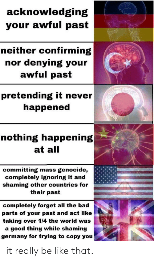 Shaming: acknowledging  your awful past  neither confirming  denying your  awful past  nor  pretending it never  happened  nothing happening  at all  committing mass  completely ignoring it and  shaming other countries for  genocide,  their past  completely forget all the bad  parts of your past and act like  taking over 1/4 the world was  a good thing while shaming  germany for trying to copy you it really be like that.