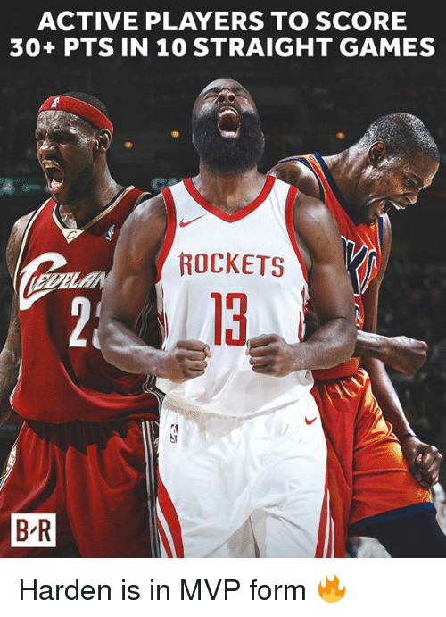 Games, Rockets, and Mvp: ACTIVE PLAYERS TO SCORE  30+ PTS IN 10 STRAIGHT GAMES  ROCKETS  13  B R Harden is in MVP form 🔥