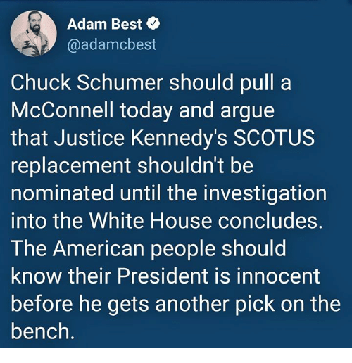 chuck schumer: Adam Best  @adamcbest  Chuck Schumer should pull a  McConnell today and argue  that Justice Kennedy's SCOTUS  replacement shouldn't be  nominated until the investigation  into the White House concludes  The American people should  know their President is innocent  before he gets another pick on the  bench