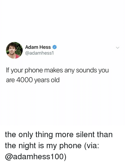 Phone, Relatable, and Old: Adam Hess  @adamhess1  If your phone makes any sounds you  are 4000 years old the only thing more silent than the night is my phone (via: @adamhess100)