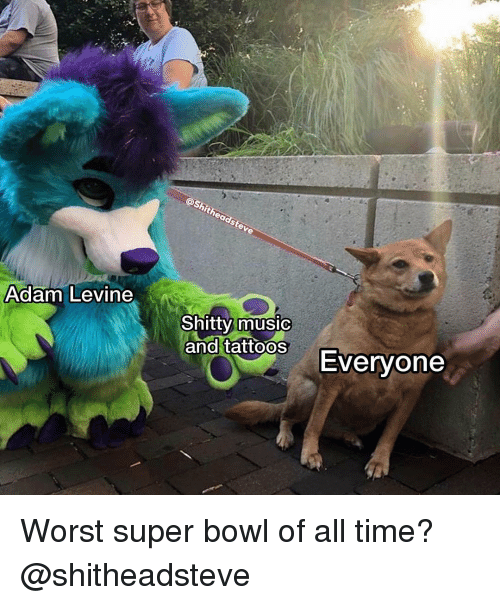 Music, Super Bowl, and Adam Levine: Adam Levine  0  Shitty music  and tattoosEvervone Worst super bowl of all time? @shitheadsteve