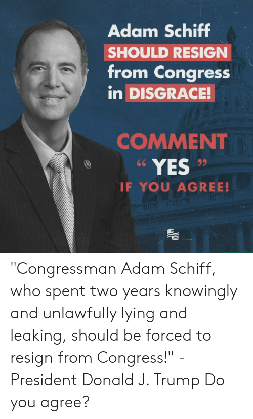 """Trump, Conservative, and Lying: Adam Schiff  SHOULD RESIGN  from Congress  in DISGRACE!  COMMENT  YES  IF YOU AGREE! """"Congressman Adam Schiff, who spent two years knowingly and unlawfully lying and leaking, should be forced to resign from Congress!"""" -President Donald J. Trump  Do you agree?"""