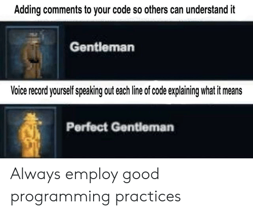 Good, Record, and Voice: Adding comments to your code so others can understand it  Gentleman  Voice record yourself speaking out each line of code explaining what it means  Perfect Gentleman Always employ good programming practices