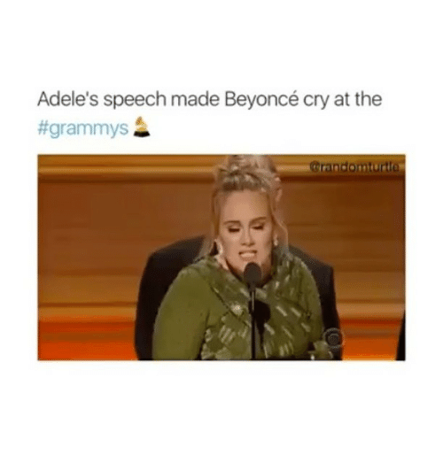 adell: Adele's speech made Beyoncé cry at the